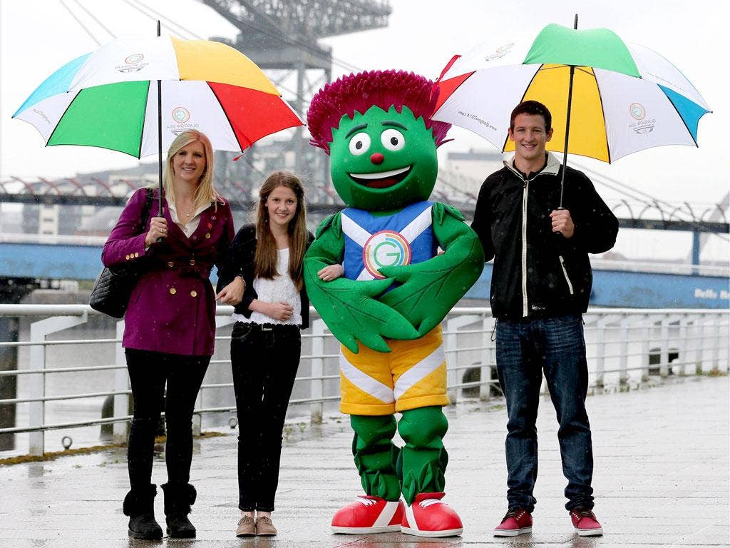 Clyde Thistle appears with Beth Gilmour, 12, and Olympians Rebecca Adlington and Michael Jamieson