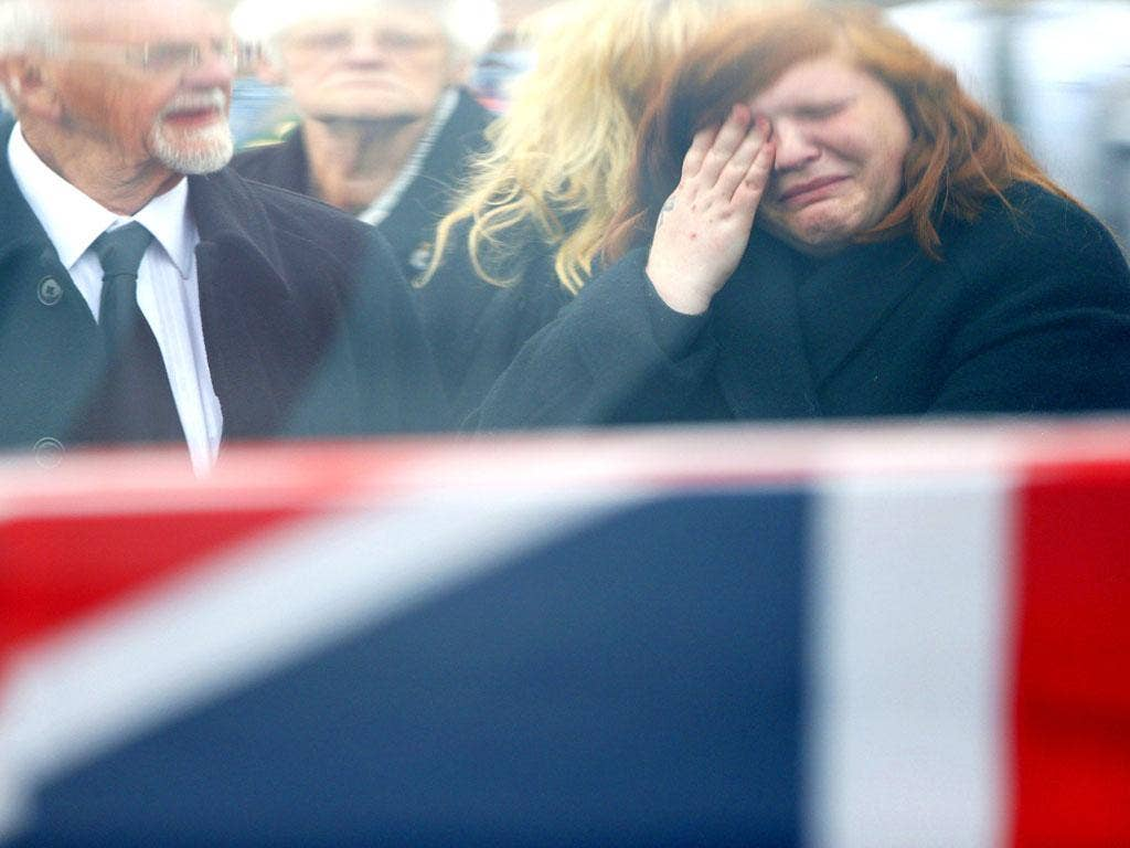 Killed in action: Mourners at the repatriation of Lance Corporal Duane Groom last week