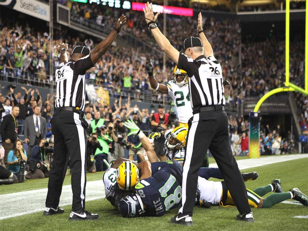 Referees disagree and Seattle are wrongly awarded a touchdown