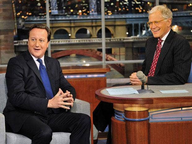 David Cameron was welcomed on to the Late Show by host David Letterman to the tune of the house band playing Rule Britannia and dry ice pumping into the studio to replicate a London fog