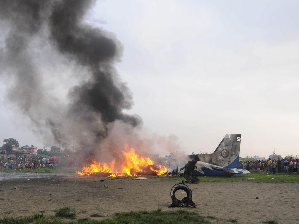 The burning Dornier aircraft after it crashed in Kathmandu