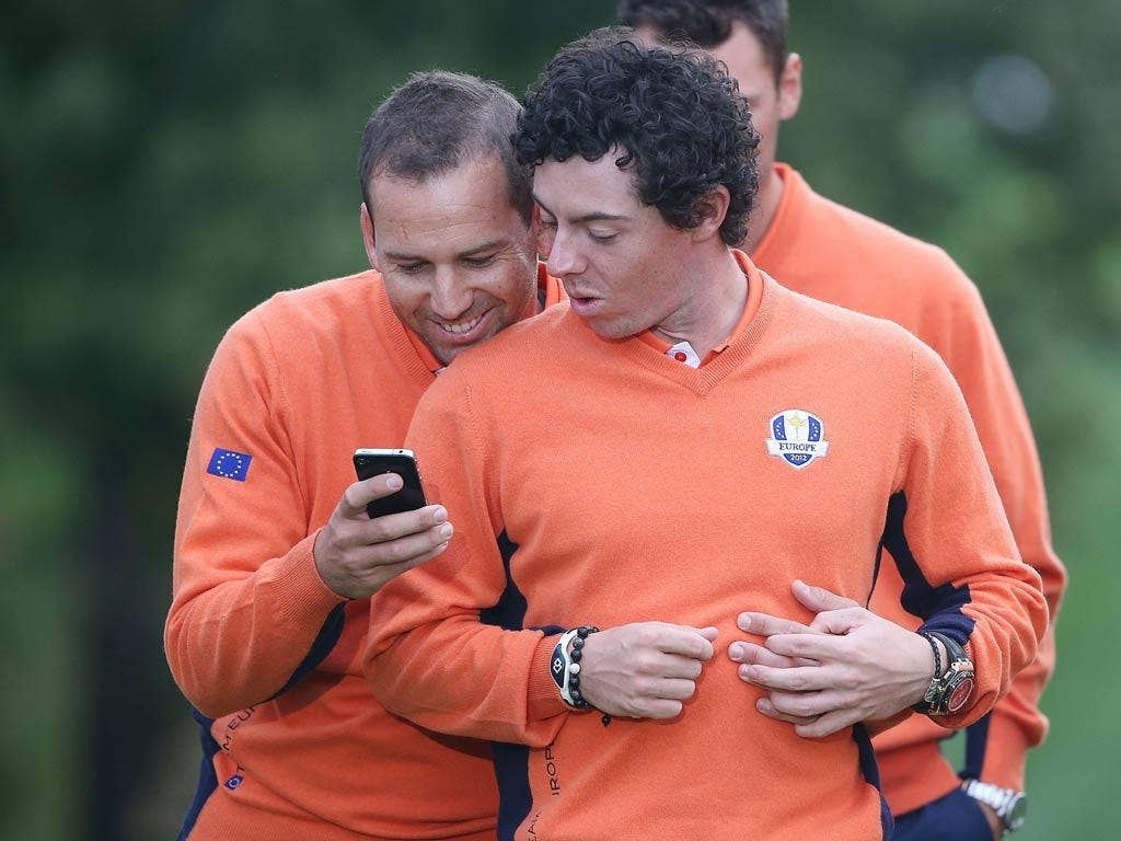 """Sergio Garcia: """"Now see Rory, this is how you set your alarm!"""" (28/09/12) <br/><br/> <a href=""""http://www.independent.co.uk/captions"""" target=""""new"""">To enter the current caption competition, click here.</a>"""