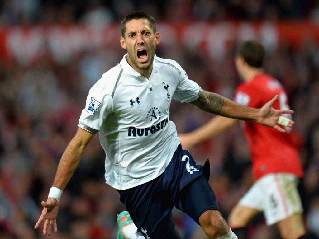 Clint Dempsey of Tottenham Hotspur scores his side's third goal
