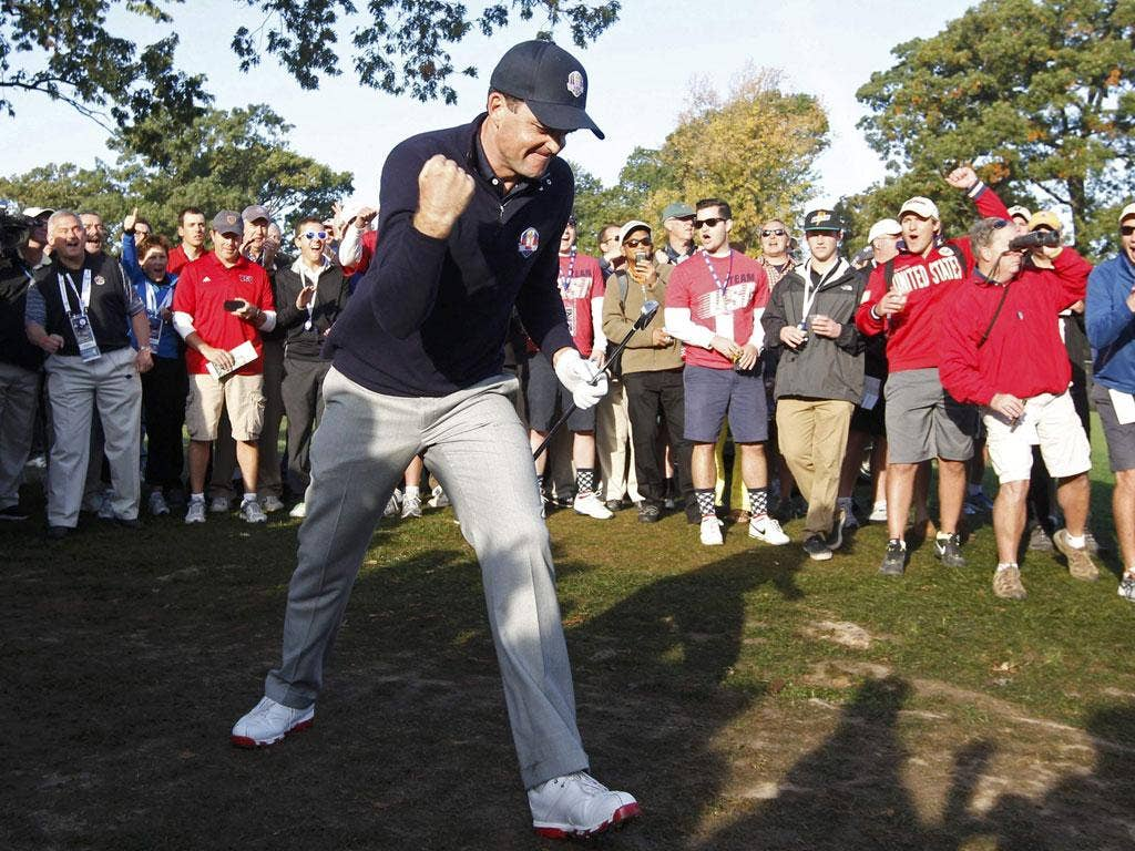 In the groove: Bradley enjoys approach shot to the fourth hole in the foursomes