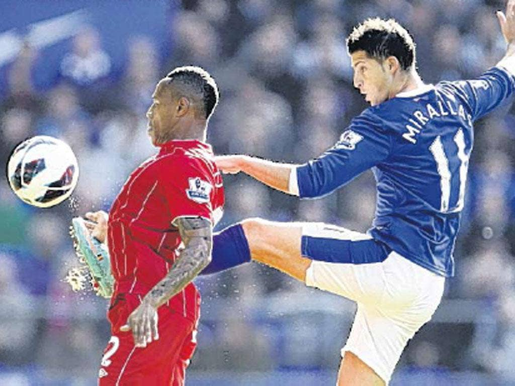 Everton's Kevin Mirallas tangles with Nathan Clyne