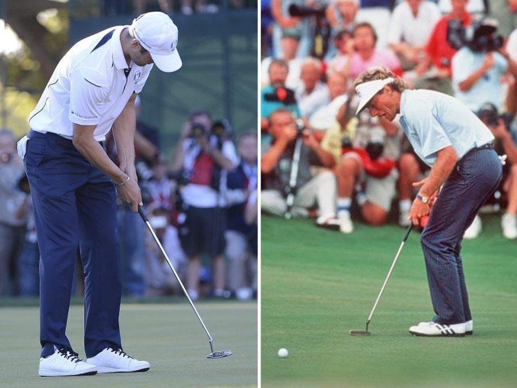 2012: Team Europe's Martin Kaymer of Germany takes his par (left); 1991: Bernhard Langer of Germany misses the vital putt