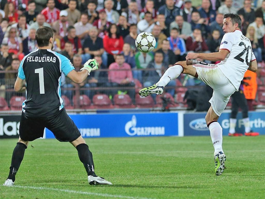 Robin van Persie flicks United into the lead on 49 minutes