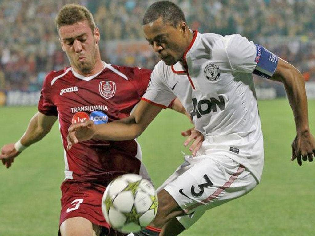 Evra struggled once again in Tuesday's match away to Cluj