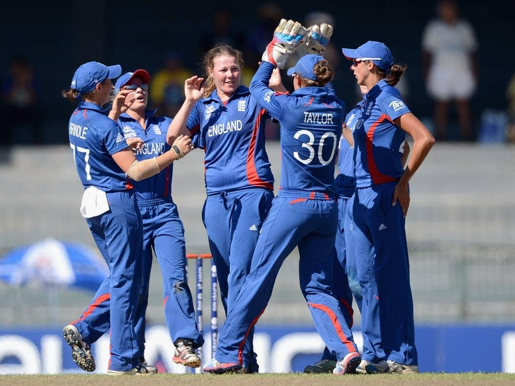 England's women celebrate during the victory over New Zealand