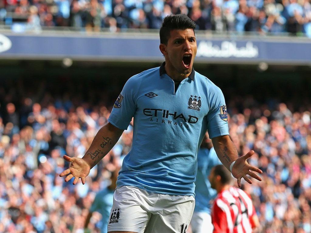 <b>Man City 3-0 Sunderland</b> Sergio Aguero of Manchester City celebrates scoring his team's second goal