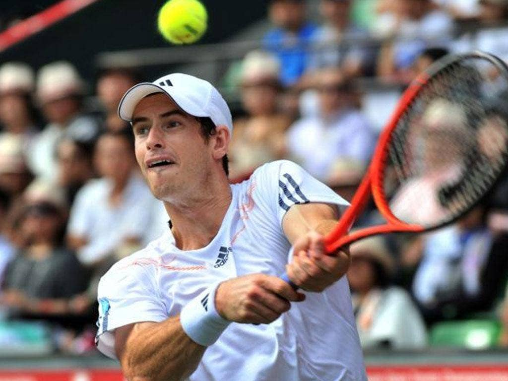 Andy Murray in action during his semi-final defeat to Milos Raonic in Japan