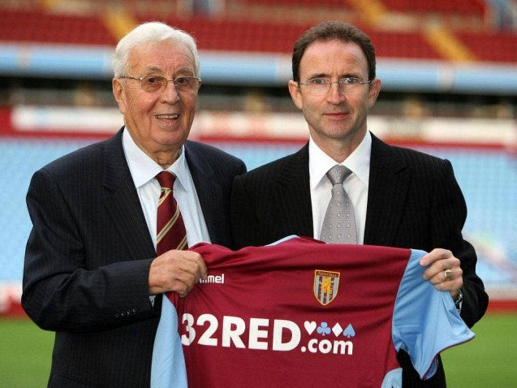 Doug Ellis, left, former chairman of Aston Villa, with former manager Martin O'Neill