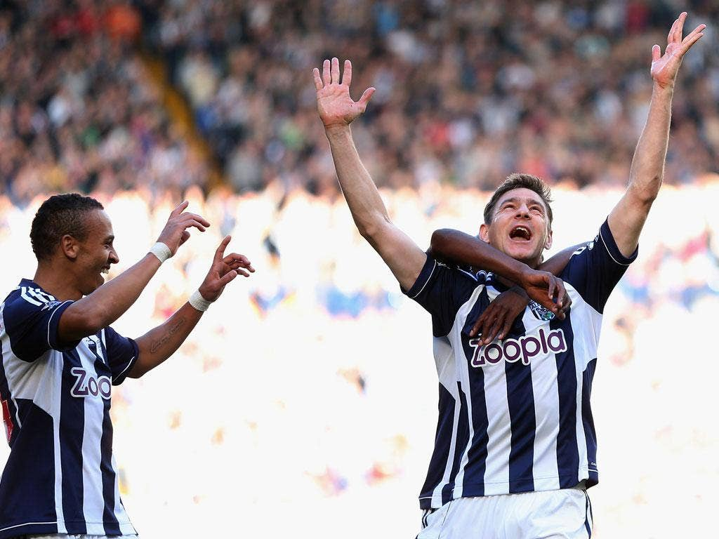 <b>West Brom 3-2 QPR</b> Zoltan Gera of West Bromwich Albion celebrates scoring his side's second goal.