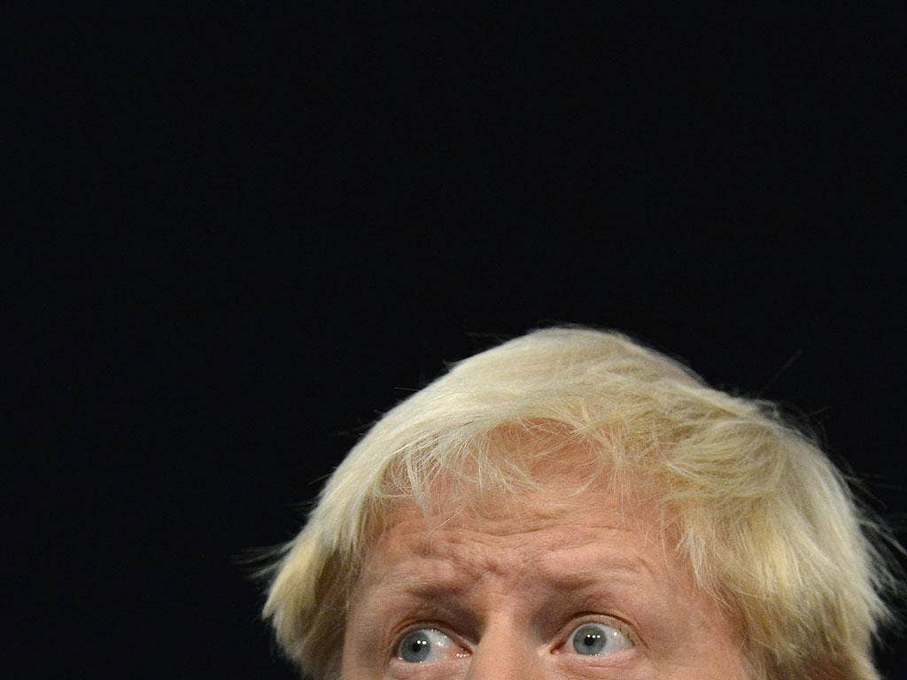 October 9, 2012: London Mayor Boris Johnson delivers his keynote speech at the Conservative Party conference in Birmingham.