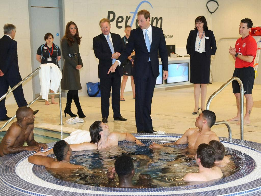 Prince William inspects a jacuzzi full of England players at SGP yesterday
