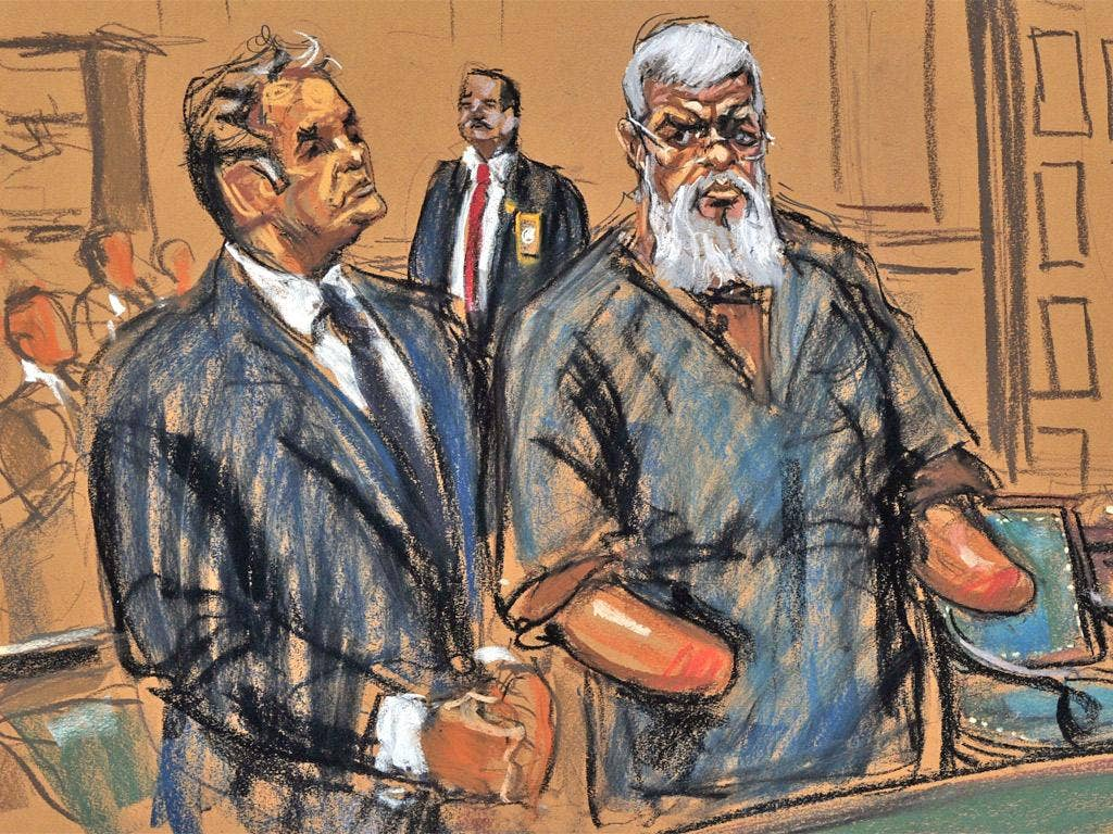 Abu Hamza depicted in a courtroom sketch from his arraignment hearing yesterday