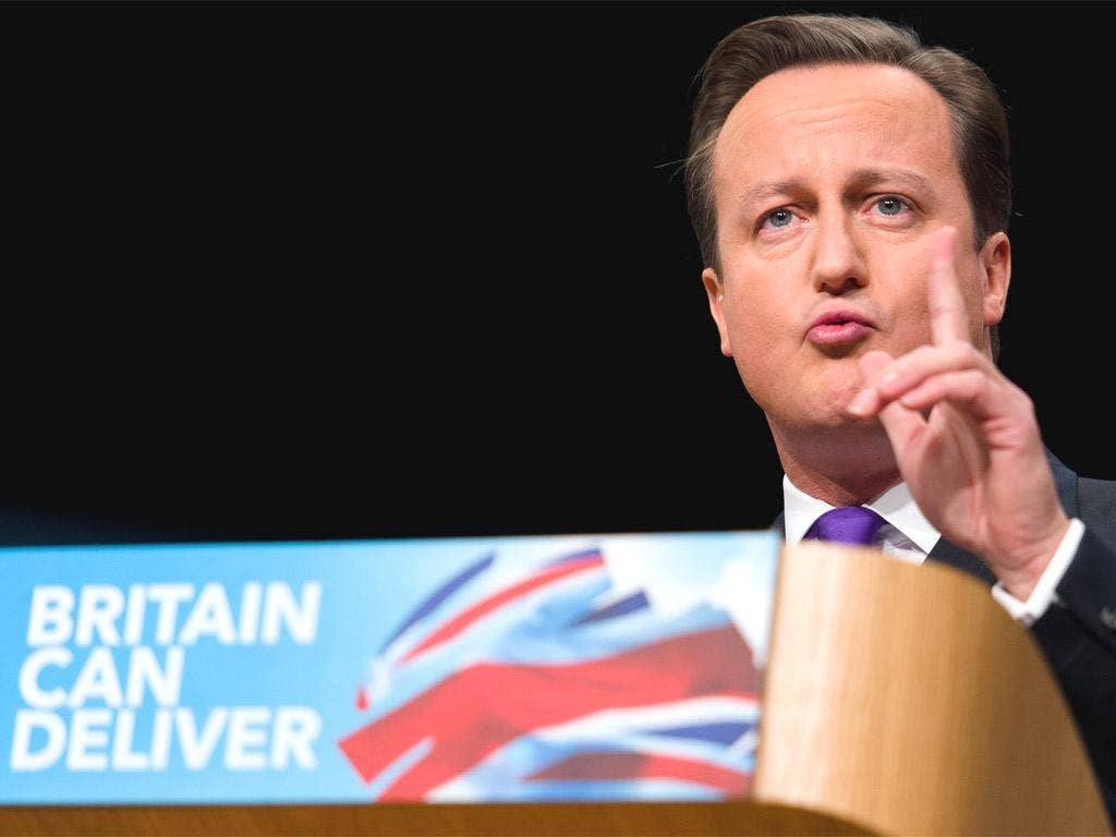 David Cameron delivering his speech yesterday