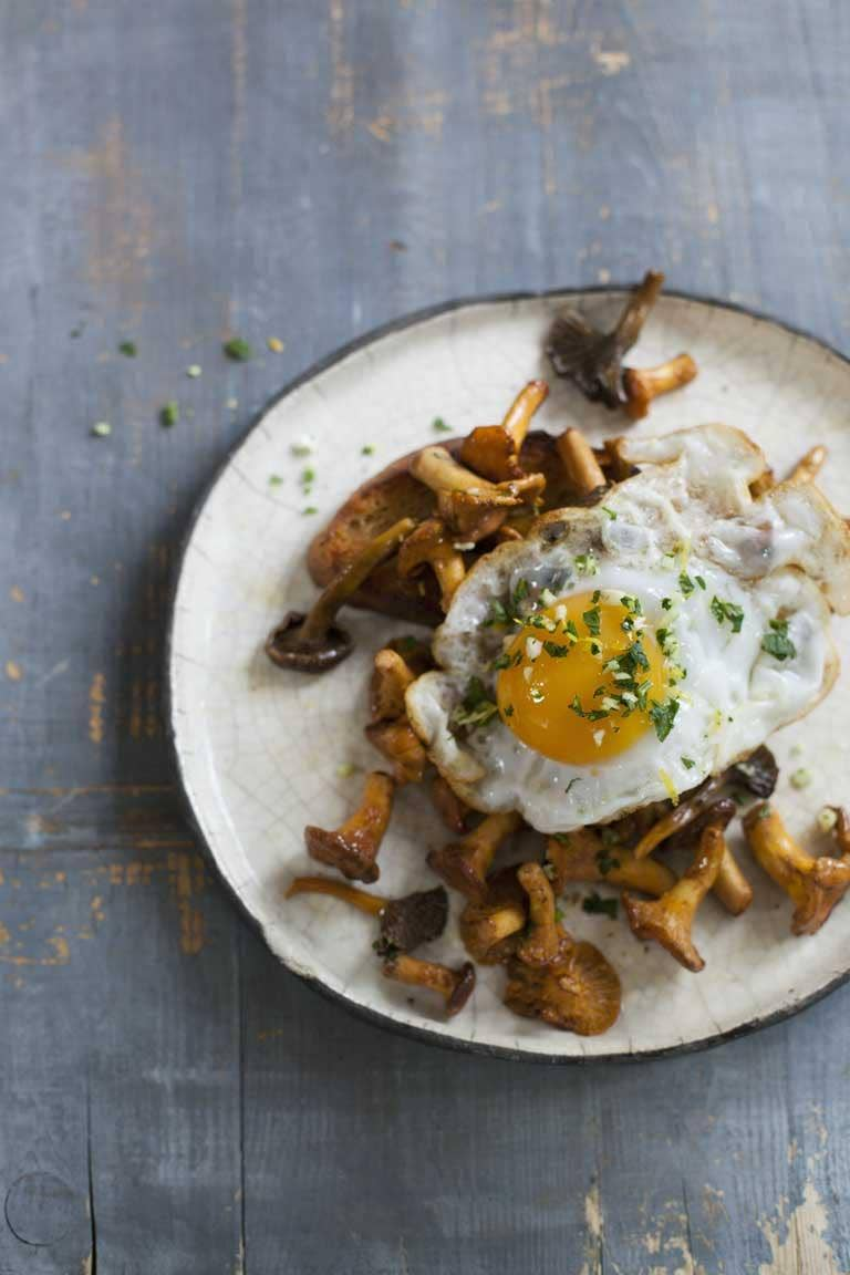 Chanterelles and duck egg on toast