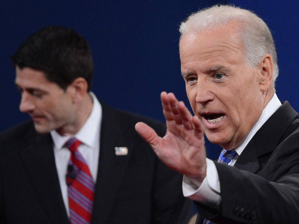 The 90-minute encounter in this small Kentucky college town may have been as uninhibited as any in debate history, as Mr Biden, right, challenged Mr Ryan at every turn