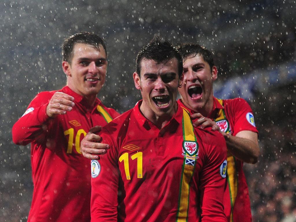 Gareth Bale celebrates scoring Wales' winner