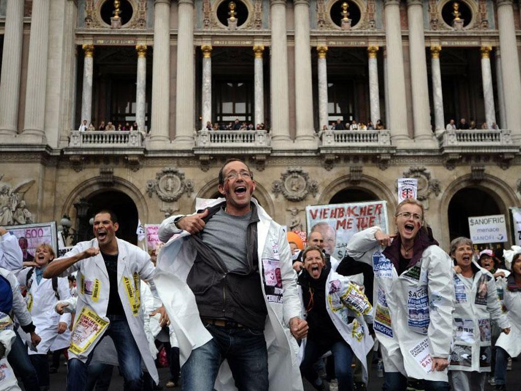 Employees of Sanofi protest against job cuts