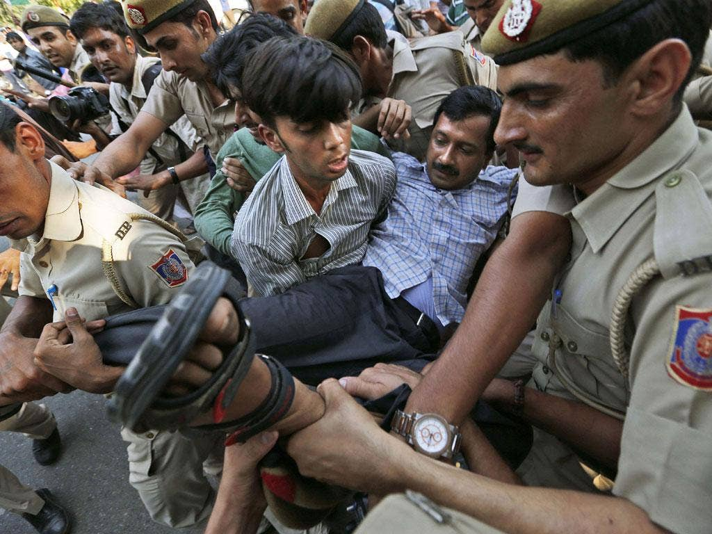 Arvind Kejriwal is hauled off by police on Friday