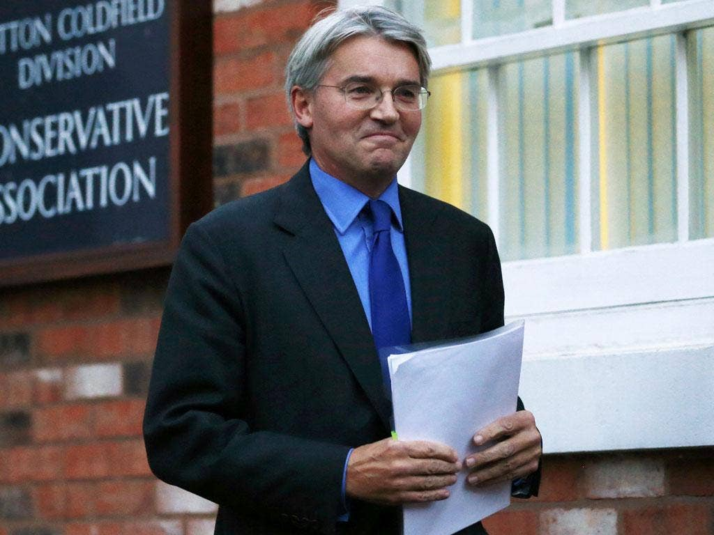Chief Whip Andrew Mitchell after he met Police Federation members at his constituency office on Friday
