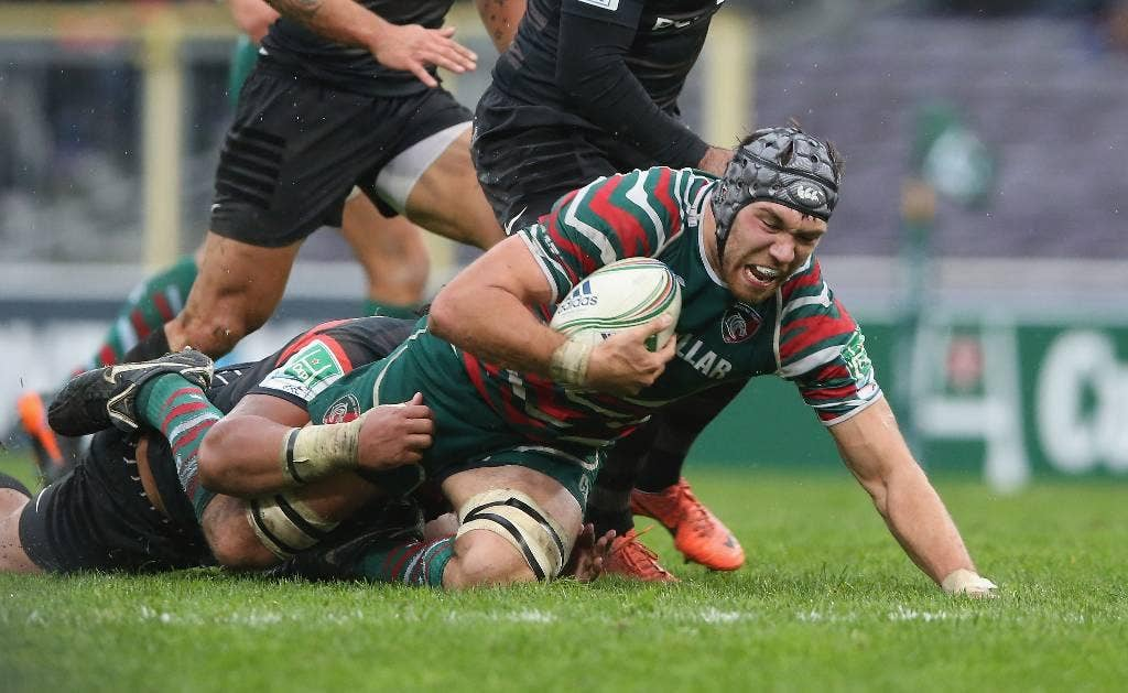 Graham Kitchener of Leicester is tackled during the Heineken Cup match between Toulouse and Leicester Tigers