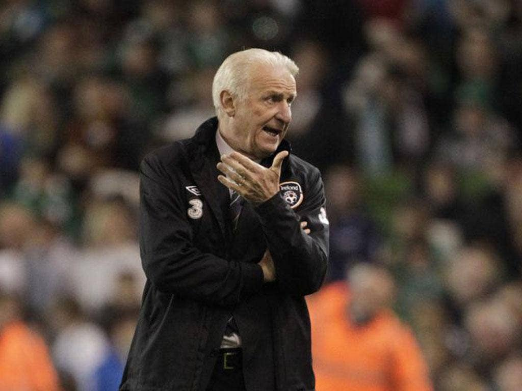 Giovanni Trapattoni gestures during his side's 6-1 defeat to Germany