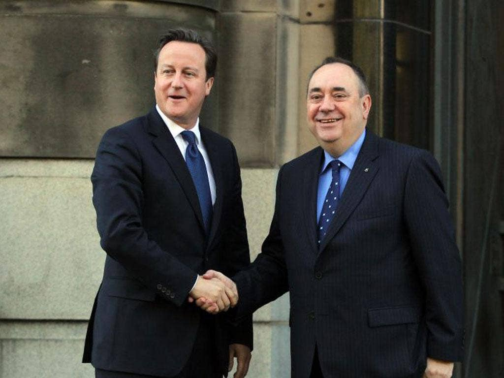 Prime Minister David Cameron and Scottish First Minister Alex Salmond meet on the steps of St Andrews House prior to their meeting to set out  the Independence Referendum deal