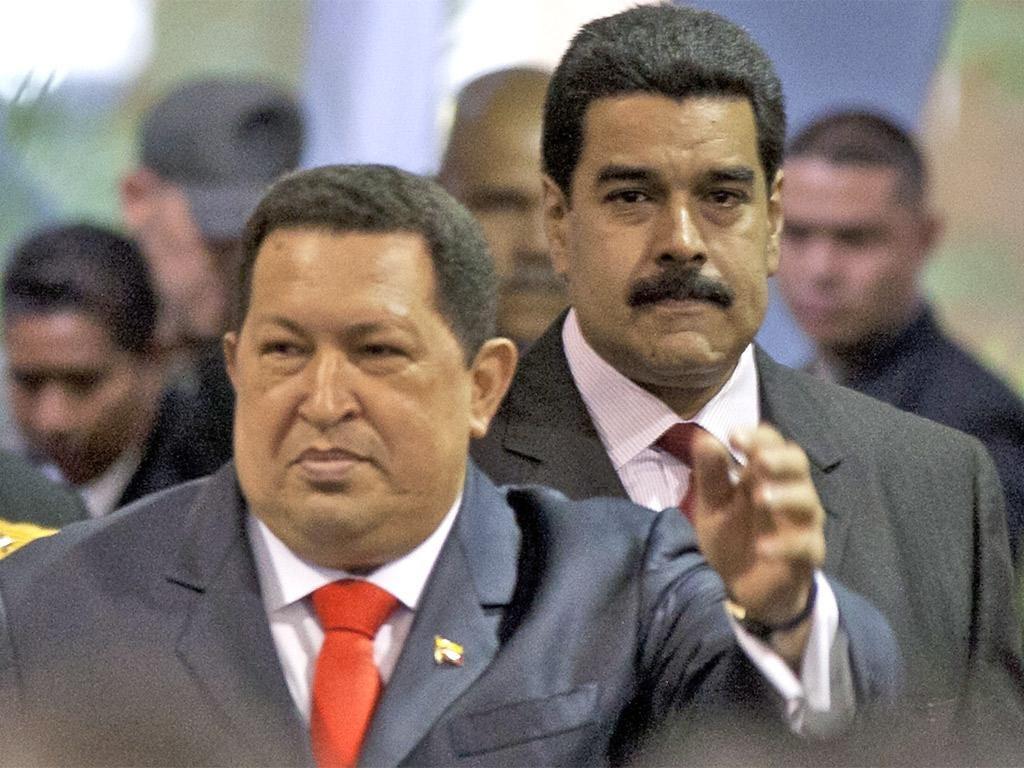 Nicolás Maduro with Hugo Chávez earlier this month
