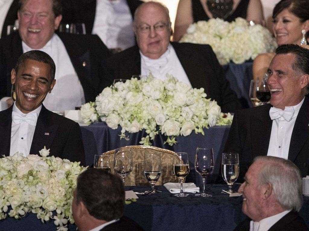 Barack Obama and Mitt Romney at the charity dinner