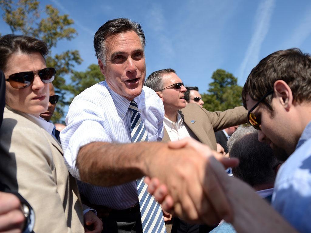 Mitt Romney on the campaign trail in Virginia last week