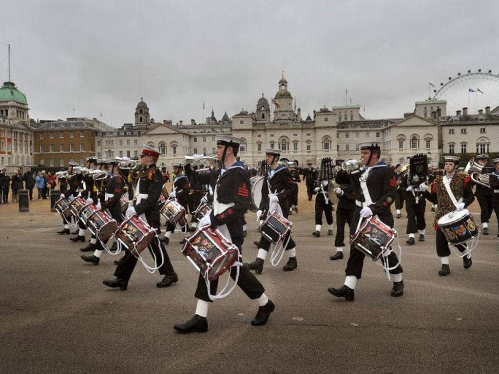 Sea Cadets marching out of Horse Guards Parade on their way to Trafalgar Square yesterday