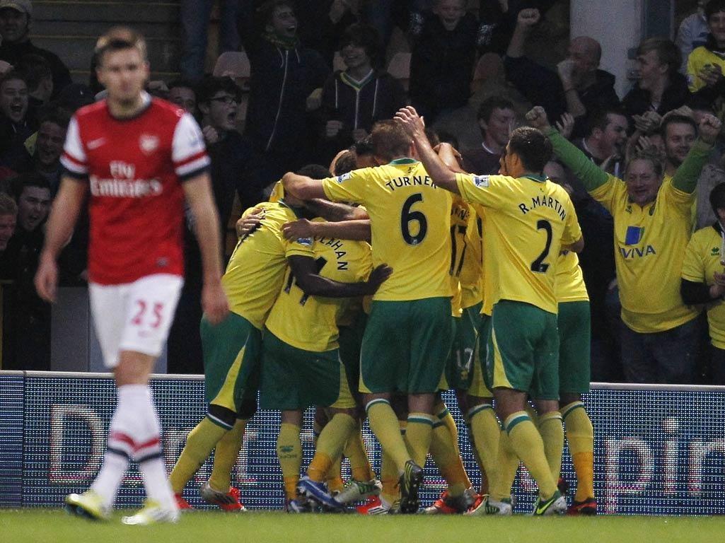 Norwich celebrate Grant Holt's winner against Arsenal