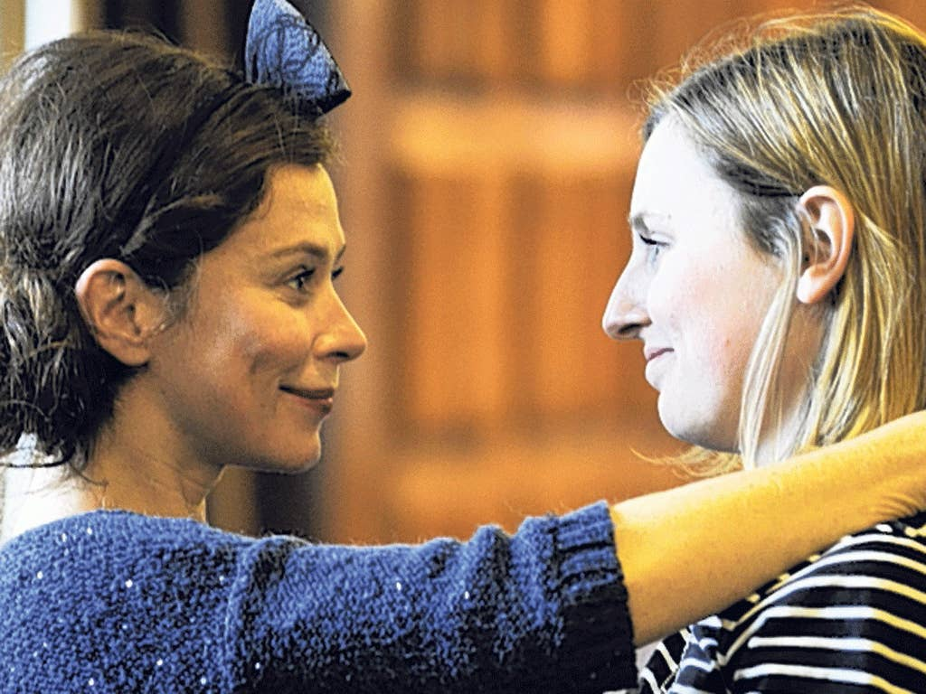 Face to face: Anna Friel (Yelena) and Laura Carmichael (Sonya) in rehearsal for 'Uncle Vanya' at the Vaudeville