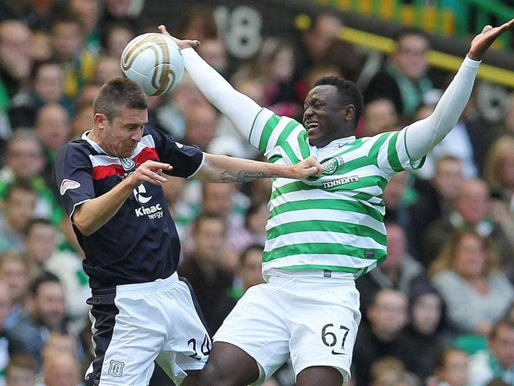 Victor Wanyama (right) is Celtic's leading scorer in the SPL despite being a defensive midfielder