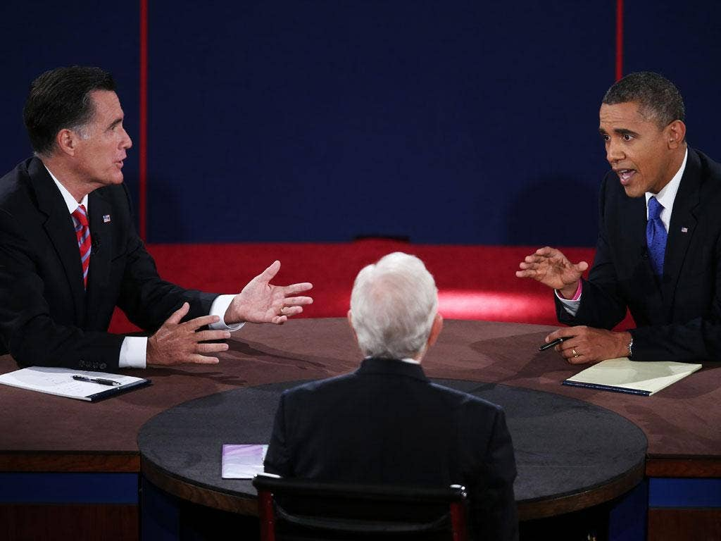 "President Barack Obama accused his rival of espousing positions that are ""wrong and reckless"" in a fiery presidential debate last night"