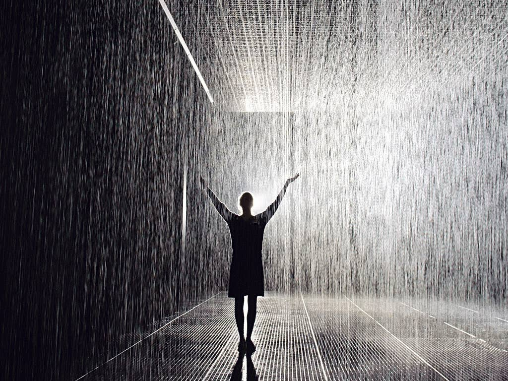What a shower: 'Rain Room' at the Barbican