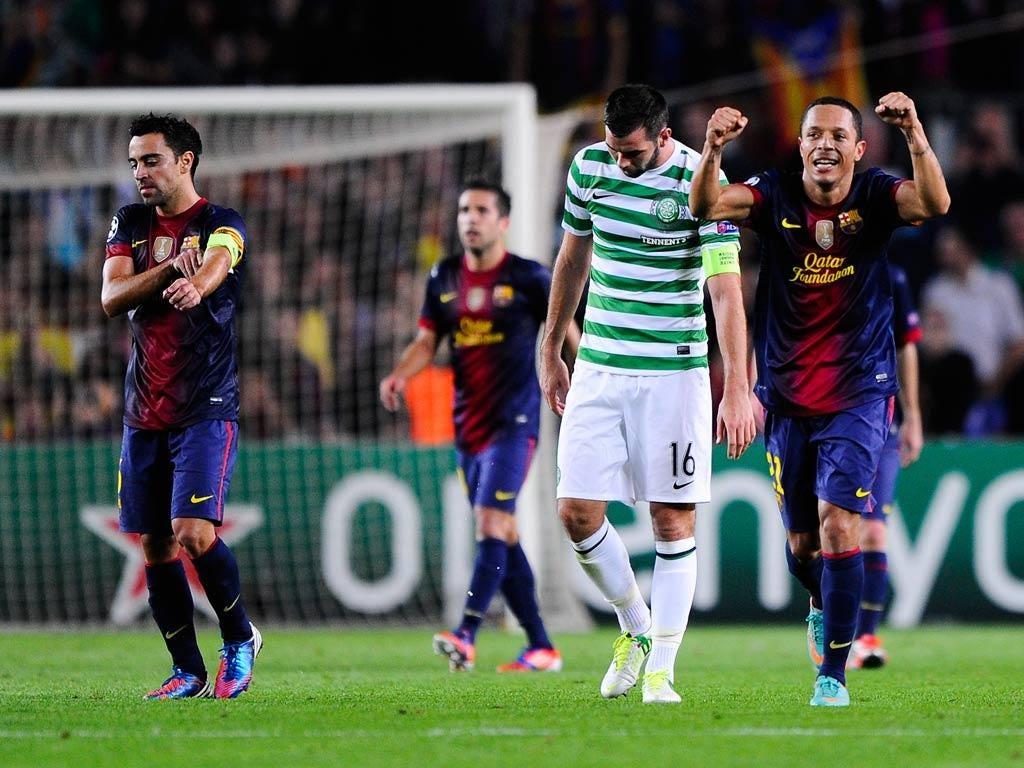 Barcelona celebrate victory over Celtic