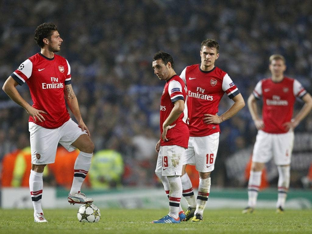 Arsenal pictured during their 2-0 defeat at home to Schalke