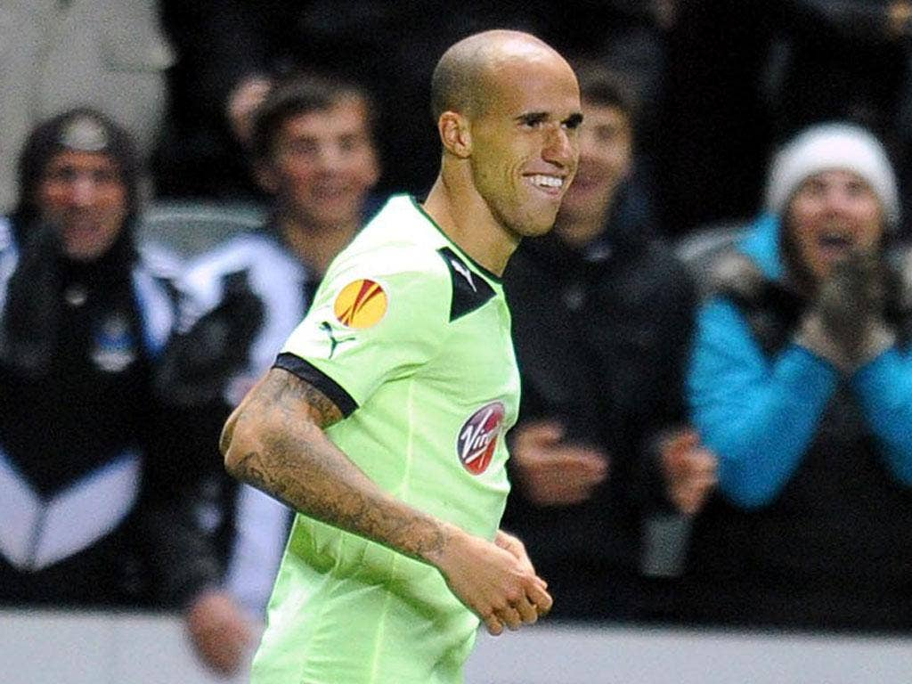 Gabriel Obertan grins after giving Newcastle the lead last night