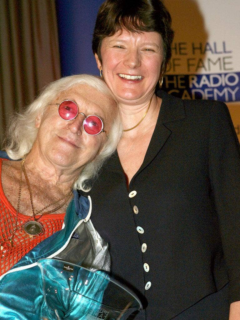 The director of BBC News, Helen Boaden, with Jimmy Savile