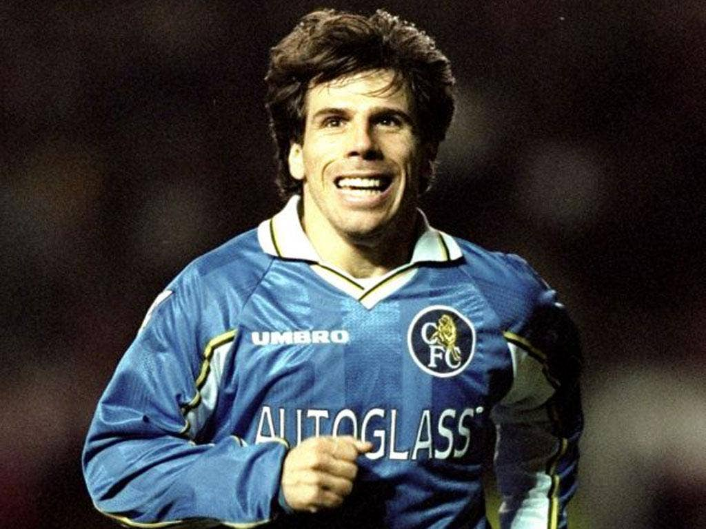 Zola in his Chelsea days, when he played with Roberto Di Matteo