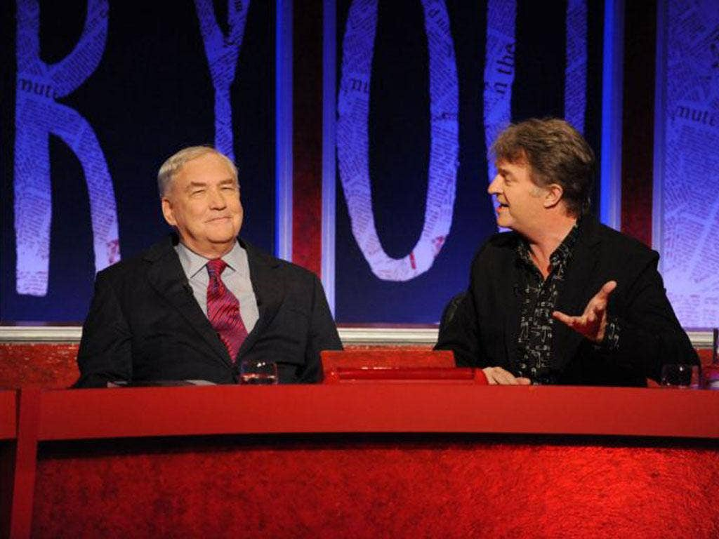 Conrad Black, left, with Paul Merton on Have I Got News For You last night