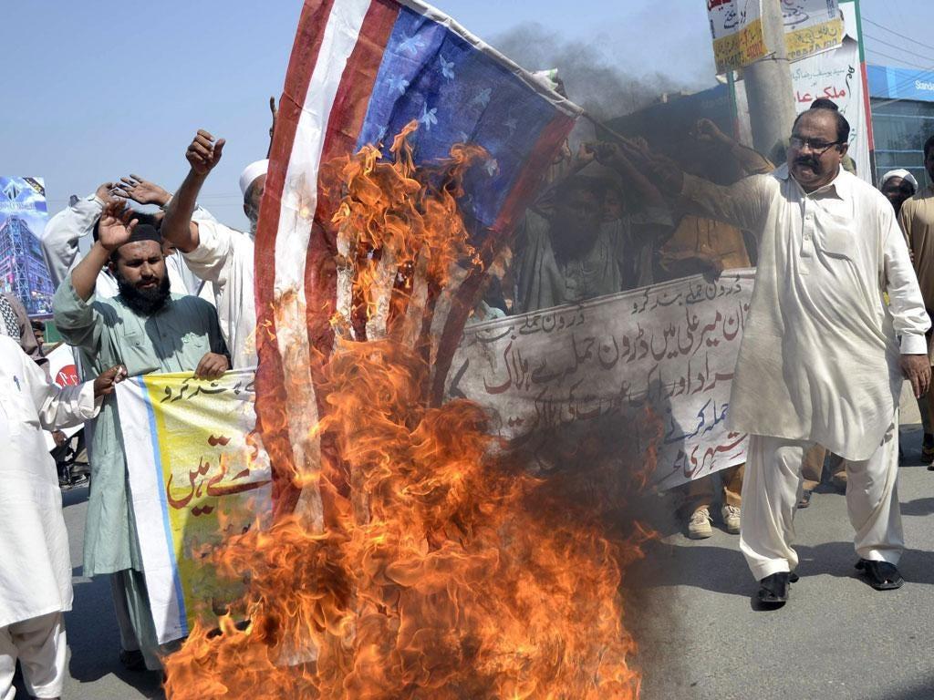 Inflammatory: Demonstrators in Multan protest at drone attacks in Pakistan last week