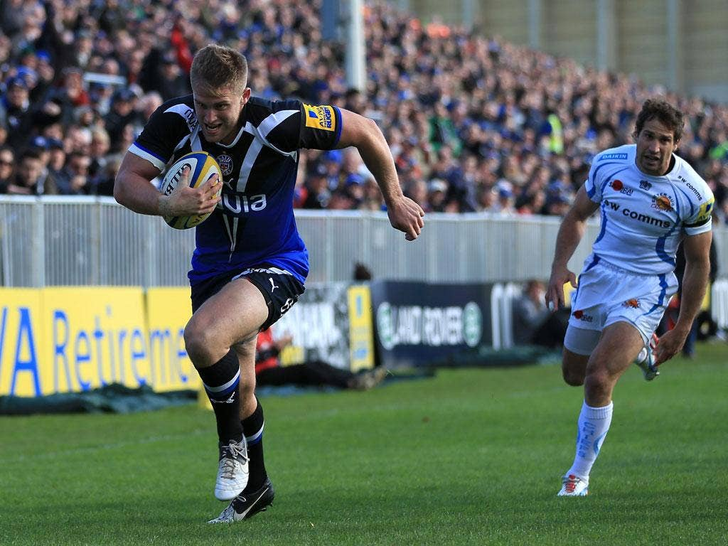 Early Bath: Ben Williams gets first try
