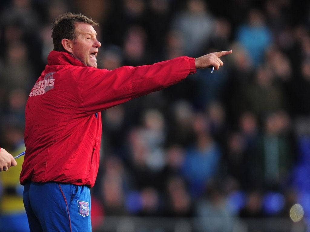 Standing in: Chris Hutchings took caretaker charge of Ipswich yesterday