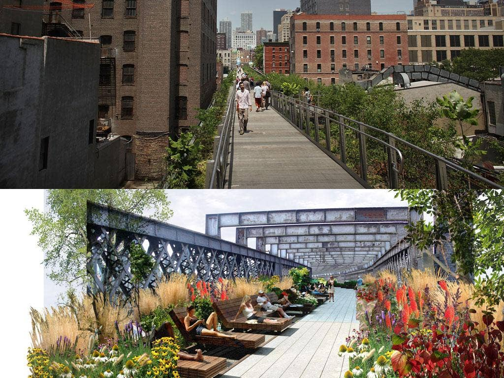 High life: Manhattan's High Line Park, top, is the inspiration for Manchester's Hanging Gardens, envisaged below