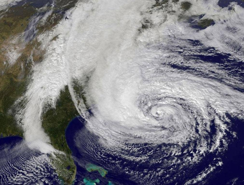 Hurricane Sandy, pictured at 1740 UTC, churns off the east coast as it moves north